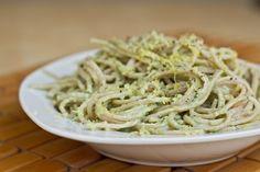 creamy avocado pasta. my favorite foods! and reasonably healthy.