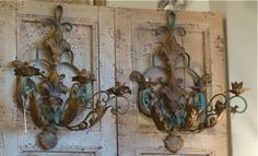 Vintage Wrought Iron Candle Sconces Pair Of Vintage French Sconces