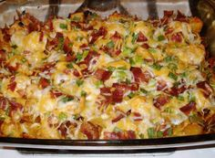 Loaded potato and chicken casserole . [Already tried this one, it was so good (tip: I used franks red hot sauce and only needed 3 tbsp, 6 would have been way too much!)]