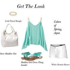 Women's fashion, green kerchief top, ivory tote, white shorts, gold bangle,