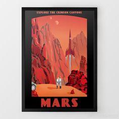 Canyons of Mars Travel Print
