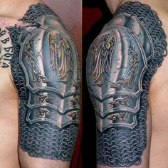 This particular knight will never be without his armor thanks to this beautiful tattoo done by Dmitry Bronya. It looks just like an armored shoulder pad and even has an angel etched into the armor plate.  (Notice the scar & slashed armor!)