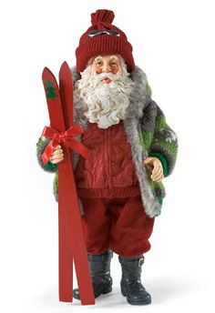 Skis-n Greetings-Let's get to the ski slopes before they get too crowded. Before you go make sure you have a warm jacket and hat like Santa does. santa babi, father christma, ski slope, skisn greet, christma santa, christma claus, santa claus, carv, dream ski