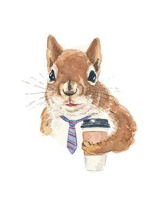 Coffee Squirrel Watercolor
