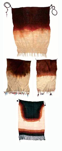 Morocco | Top) Headcovering (dyed wool) from the Ida Ou Nadif, Central Anti Atlas region.  Middle) Two Adrars (henna dyed wool) from the Beni Yacoub, Central Anti Atlas region and Bottom) Head and shoulder covering, dyed wool, from the Ida Ou Nadif, Central Anti Atlas.