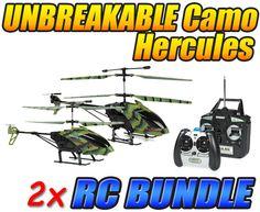 Camo Hercules and Camo Nano Hercules Unbreakable 3.5CH RC Helicopter Bundle
