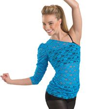 This bright neon floral stretch lace asymmetrical top looks great layered over your favorite bra or cami top.