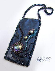 long magatama, sew bag, cell case, bead embroideri, bead art