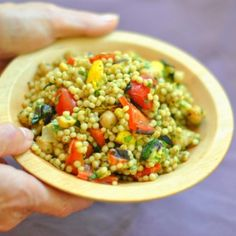 Spiced Israeli Couscous with Grilled Vegetables, Chickpeas, and Cilantro - Three Many Cooks