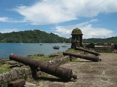 The ancient cannons of Portobelo, Panama, where the pirate Henry Morgan invaded, sacked and left a burning ruin in 1668.