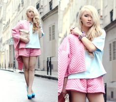 Cos Baby Blue Outer As Top, Quilted Pink Jacket And Shorts Set, Nicholas Kirkwood Shoes