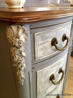 Antique vanity painted in Miss Mustard Seed's Dried Lavender by Veronica of Bliss and Blossom Designs
