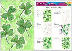 How to Draw a Shamrock draw, march, school holiday, art idea, patrick, elementari art, kids, holiday idea, art projects