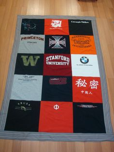 T-shirt quilt. I've seen these before and think they're a really cool idea. You seriously just use old tshirts that dont fit anymore, you can also add things like buttons, zippers, lace, etc. You dont only have to use shirts, you can also use old jeans/shorts/sweats whatever. Make it fun so it expresses your style.