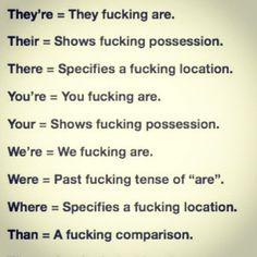 Grammar. FUCK. Get it right!