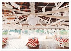 pretty ceiling/tables -lace hanging in addition to gossamer and tulle