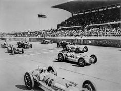 May 15, 1938 Tripoli Grand Prix:    Mercedes-Benz scores a triple victory with Hermann Lang (number 46), Manfred von Brauchitsch (number 44) and Rudolf Caracciola (number 26) in their 3-liter W154 Silver Arrows. Lang's achieved an average speed during the 524 km (325.6 miles) race of 205.1 km/h (127.4 mph).