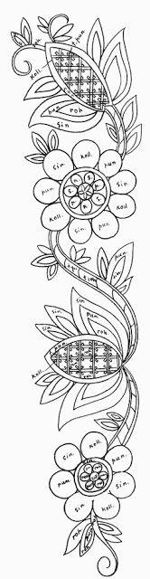 Mustrilaegas quill pattern, color design, embroideri pattern, fabrik paint