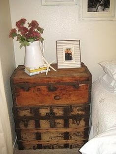 I love to recycle/reuse items - these trunks stacked as a bedside table are a great idea.