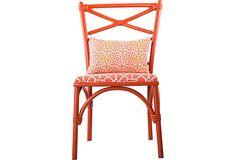 Orange Rattan Chair w/ Pillow