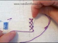 I ❤ embroidery . . . Video Tutorial: Knotted Diamond Stitch~ The knotted diamond stitch makes a decorative band of diamond shapes between two parallel lines. It can be worked horizontally or vertically. It would make a great seam treatment in crazy quilting, it could be used as an edge treatment on a towel, or for lines in band samplers.