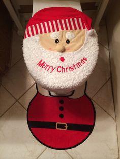 Santa toilet seat cover and floor mat