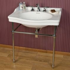 """Luciana Console Sink - Brass Stand with 8"""" Centers - Console Sinks - Bathroom Sinks - Bathroom"""