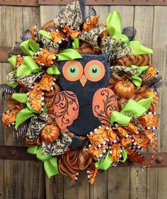 Autumn Mesh Owl Wreath on Etsy, $95.00