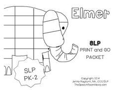 Elmer: Print and Go SLP Mini Companion Preschool-2nd Grade.From TheSpeechRoomNews.com