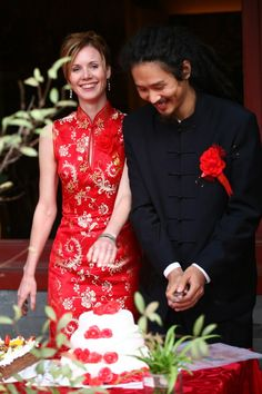 Ember Swift and her husband Guo Jian, getting married in red Chinese wedding style.