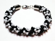 Bracelet Kumihimo Beaded Classic Black & White by epicstitching, $28.00