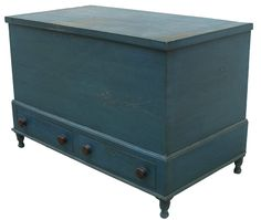 Early 19th century blue Chest over two dovetailed drawers