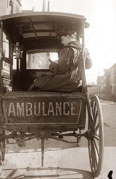 Dr. Elizabeth Bruyn, sitting in the back of a horse drawn ambulance. Dr. Bryun was an ambulance surgeon in New York City in the early 1900's. On her first day at work in 1910, she saved the life of an 18 month old baby who had been overcome by gas from a leak in an apartment.