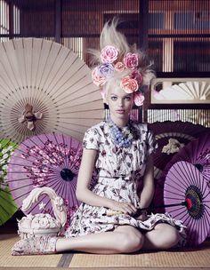 Vogue Japan. November 2012. The Secret Chatter of Golden Monkeys. Photographer:Mark Segal. Styling: Giovanna Battaglia. Model: Daphne Groeneveld.