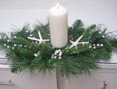STARFISH CHRISTMAS CENTERPIECE beach decor, nautical decor, pearl accent, mixed pine