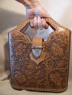 hand tooled leather handbag