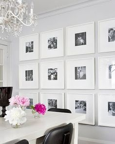 square frames in a gallery wall, white, black, and pink dining room