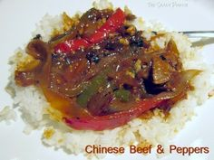 A super supper...Chinese Beef & Peppers with a savory sauce on a fluffy bed of rice.  #recipe #Asian #stirfry
