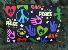 Peace sign padded sleeve for Kindle 3rd Gen Fire and Touch,  Galaxy Tab, optional shoulder strap or wristlet, peace and love,The Elm by ZoesBagBoutique for $15.95 #zibbet