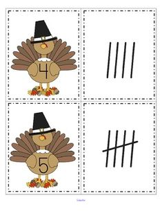 FREE This is a set of turkey cards, numbered from 0-20, and a set of tally marks, from 0-20. Use to match the sets; as flash cards; for number or tally marks sequencing.