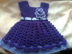Púrpura bebé vestido infantil ropa niña vestido por paintcrochet, $35.00