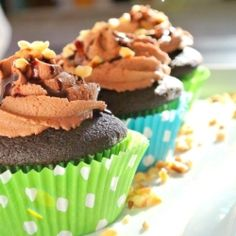 Chocolate Nutella Cupcakes - Moist chocolate cupcakes topped with a yummy Nutella buttercream frosting.