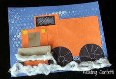 3-D snowplow craft from Reading Confetti - made from simple shapes