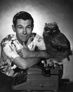 Johnny Carson and his owl friend