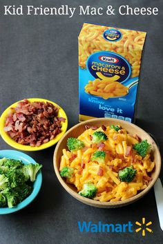 Mix up classic mac and cheese with toppings like broccoli and bacon. This makes a great, easy after-school snack idea that kids can help make!  All products can be purchased at everyday low prices at Walmart.
