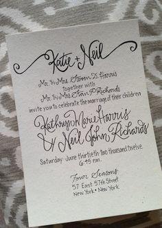 Calligraphy Wedding Invitations by GreySnailPress on Etsy, $2.00