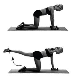 Backside burner: Start in tabletop, weights in hands. Extend one leg back, parallel to floor, as you reach the opposite arm out to the side (in line with shoulder, palm facing down). Return to start. Do 10 reps. Switch sides.
