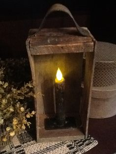 Primitive Box Candle Light...made from an old box & used belt.