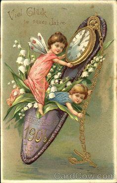 New years vintage postcards