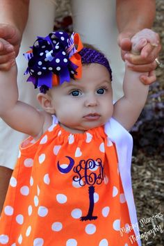 Darling Clemson pillowcase dress! Love the monogram in the shape of a Palmetto tree!